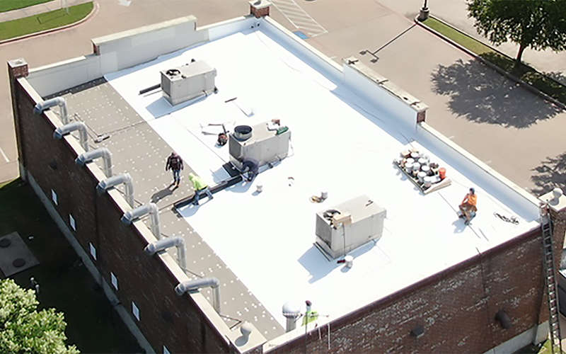 Roofing a commercial building